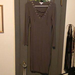 Bar III olive green ribbed dress